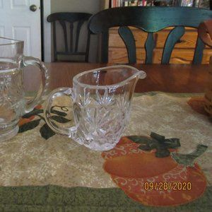 Crystal Cut Glass Candleabra & Creamer/Pitcher